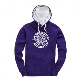 Manchester 1824 Premium Contrast Hoodie - Purple/White