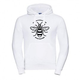 Distressed Manchester Bee Hoodie - White