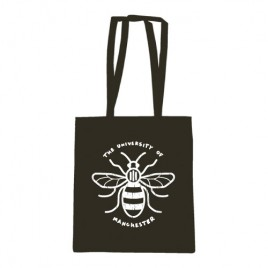 Distressed Manchester Bee Cotton Shopper in Black, new